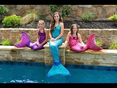 Live Mermaids Swimming in Our Pool!  #mermaids #pool #swim #summer