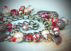 Vintage Rhinestone Charm Bracelet $42.00 #autumn #brigteam #fall #boho #charm #shabby #chic #red #coffee @Rew Elliott #holiday