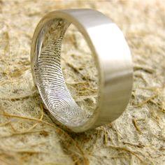 Bride's fingerprint inside the groom's wedding band <3