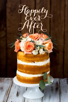 Wedding Cake Topper - Happily Ever After - Birch