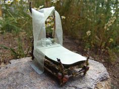 Miniature Fairy Bed or Doll Bed