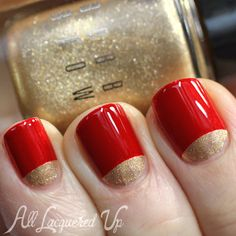 """Moon Manicure using Bobbi Brown """"Old Hollywood."""" I'm thinking a nice, deeper red for just the index fingers and then gold on all the rest of them!"""