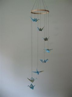 "Baby Nursery ""Around the World"" origami crane mobile"