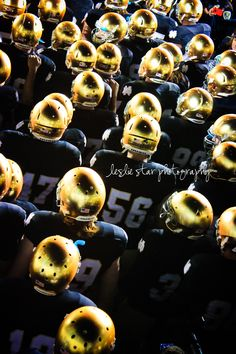 10.23.11 The Notre Dame football team awaits in the tunnel, revealing their new golden helmets.
