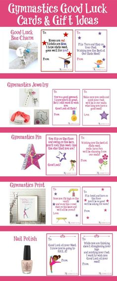 Gymnastics good luck gift ideas along with free printable good luck cards