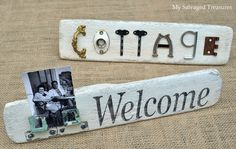 Signs made from old concrete tools and salvaged bits and pieces.