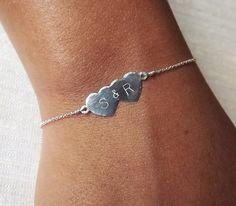 Dainty Hammered Sterling Double Heart Bracelet - Sterling ID Bracelet - Personalized Bracelet - Sweetheart Bracelet. $39.00, via Etsy.
