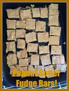 Clean Eating Peanut Butter Fudge Bars.  Clean Eating Desserts!