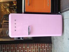 Pink vintage Smeg fridge