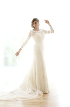 """""""Thea"""" by Sassi Holford - Long sleeve lace gown - stunning! bellissimaofsalis..."""