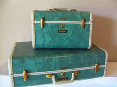 Samsonite Luggage Set-Marbled Aqua, Teal, Turquoise Blue Hardsided Suitcases with Hangers