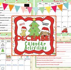 December Calendar Activities - free yearly updates!