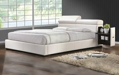 White Leather Like Vinyl Queen Size Bed Set With Adjustable Headrests