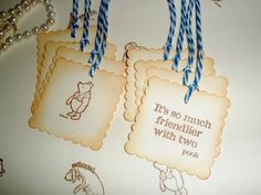 Winnie the Pooh favor gift tags-Wedding tags-Christopher Robin-Pooh theme-Baby shower favors