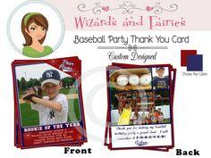 Baseball Thank You Card..Baseball Card...Custom Designed  #baseballparty #invitation #thankyou #favors #ideas