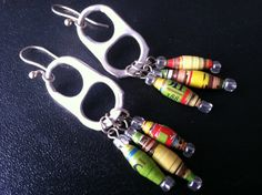 Upcycled Pop Tab Earrings with Colorful Paper Beads made of Magazine Pages Get them here:  https://www.etsy.com/shop/UpcycledStuff?section_id=10108080&ref=shopsection_leftnav_2