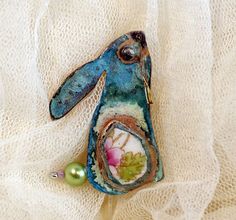 Beautiful moon gazing hare by Beastie Brooches on Folksy
