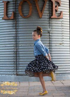 New Fall/Winter - Black Bird Flat Front Swing Skirt - Sizes 2 3 4 5 6 7