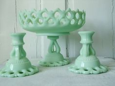 Jadeite Green Pedestal Candy Dish and Candle by TheBountifulBird