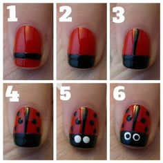 Lady bug nails are sooo easy! You can do it yourself! Perfect for spring and other holidays or seasons!#socute #havetotrythis