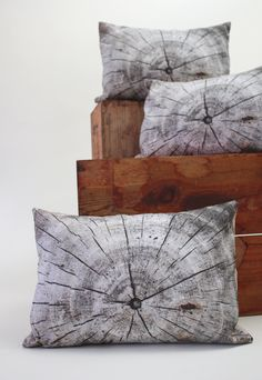 Driftwood pillow - made to order - decorative pillow - wood print. $40.00, via Etsy.