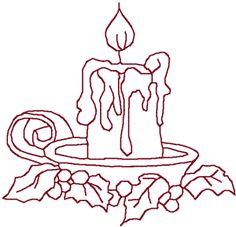 Redwork Christmas Candle Embroidery Design