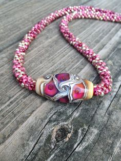 Kumihimo Beaded Necklace with Lampwork Focal Bead