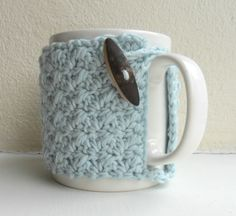 Crochet Mug Cozy Cup Cozy egg shell Blue