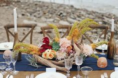 birchwood + succulent table decor