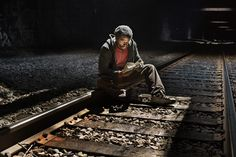 """This is a photo taken from Andrea Star Reese's series called """"Urban Cave"""" where she explores the people that are living in the abandoned train tunnels that run under New York City"""
