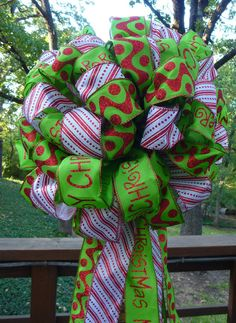 CHRISTMAS TREE TOPPER Single Bow in Red Lime Green by decoglitz
