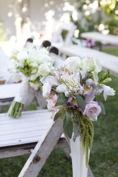 love the floral chair decor in this wedding @Nicole Novembrino Green these are pretty maybe the color  you like?