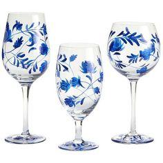 Floral Stemware - Blue