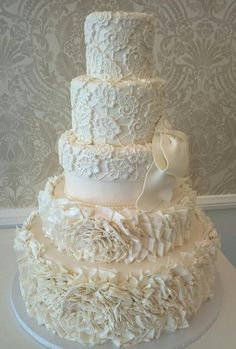 "Inspiration for this cake was coming from ""Lark"" by Vera Wang 2013 bridal gown collections"