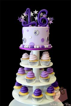 Kristyn's Sweet 16 Cake Topper shades of purple, cupcake stands, 16th birthday, sweet 16 cakes and cupcakes, cupcake cakes, small cakes, sweet sixteen, cupcake towers, cake toppers