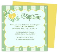 Isabella Printable DIY Baby Baptism Invitations Templates editable with Word, Publisher, Apple iWork Pages, OpenOffice. Print yourself or take anywhere to get printed!