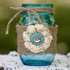 Blue Mason Jar Rustic Wedding Vase Accented with by DreamItCraft