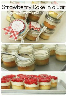 Tasty Beautiful Things- Strawberry Cake in a Jar somewhatsimple.com