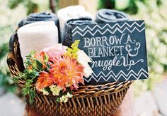 blanket basket wedding, wedding favors, wedding ideas, modern weddings, blankets for wedding, fleece blankets, baskets, winter weddings, outdoor weddings