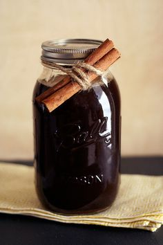 Homemade Chai Tea Concentrate - need black tea, spices - cinnamon sticks, coconut sugar, fresh ginger, whole cloves, cardamom, nutmeg, star anise pods, black peppercorns, orange zest; by Tasty Yummies, via Flickr