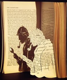 craft, book pages, altered books, paper sculptures, sherlock holmes, the great, cut outs, shadows, shadow art