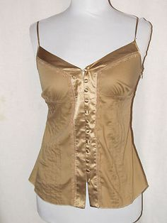 Sz S bebe Fitted Cami Camel Spaghetti Straps Button Loops Front Satin Cotton