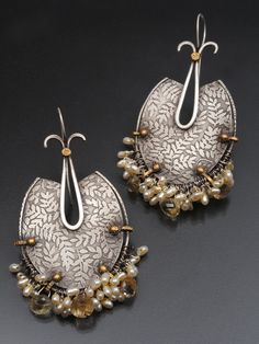 Debra Colonna Shield Earrings, sterling silver, topaz. Photo Margot Geist