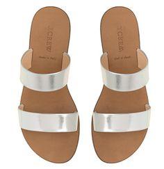 {jcrew metallic sandal}