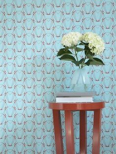 Caribbean blue and coral red Alto Wallpaper