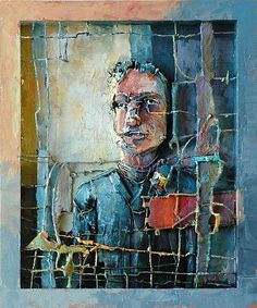 Robert Grimes-'Confident and Desperate'-The Art Spirit Gallery of Fine Art..oil on wood ,wire,paper