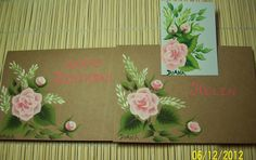 Birthday card, matching envelope and bookmark