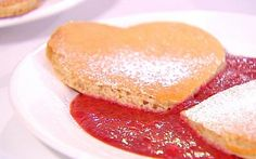 Heart-Shaped Pancakes with Strawberry Sauce
