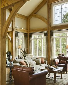 <3 post and beam/ timber framed interiors