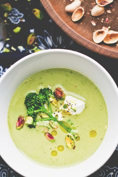 Broccoli + Pistachio Soup. (To make vegan use a veggie stock and omit garnish)